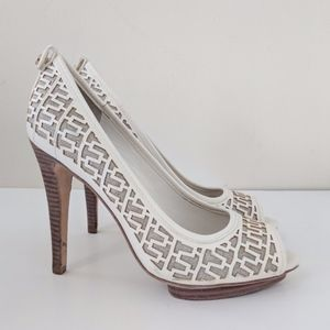 Tory Burch Regan Peep-Toe Pumps / 8